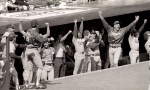 Los Angeles Dodgers celebrate the three run home run by Kirk Gibson  against the New York Mets  during Game 5 of the NLCS Monday, October 10, 1988 at Shea Stadium. The Dodgers defeated the Mets 7-4  © Jon SooHoo/Los Angeles Dodgers 1988