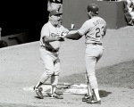 Dodgers Tom Lasorda congratulates Kirk Gibson during his three run home run against the New York Mets during Game 5 of the NLCS Monday, October 10, 1988 at Shea Stadium. The Dodgers defeated the Mets 7-4  © Jon SooHoo/Los Angeles Dodgers 1988