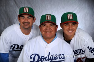 LOS ANGELES DODGERS ADRIAN GONZALEZ, FERNANDO VALENZUELA AND LUIS CRUZ