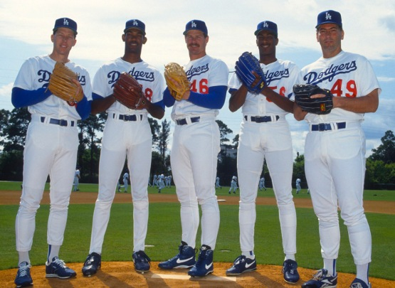 Orel Hershiser, Ramon Martinez, Kevin Gross, Pedro Astacio and Tom Candiotti-March 1994...Photo by Jon SooHoo/©LA Dodgers
