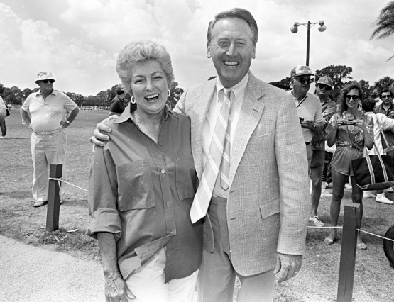 Hall of Fame Broadcaster Vin Scully poses with Jo Lasorda in March 1986 outside the Dodgers Clubhouse. Photo by Jon SooHoo/© Los Angeles Dodgers,LLC 2013