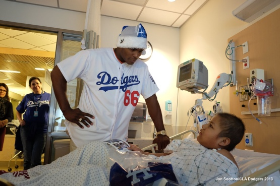 DODGERS YASIEL PUIG VISITS CHILDRENS HOSPITAL LOS ANGELES