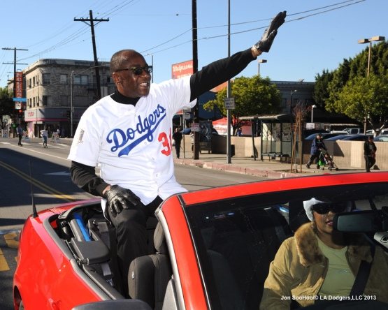 Dodgers Lee Lacy at the Echo Park Holiday Parade