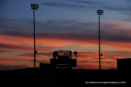Sunset at the Los Angeles Dodgers Spring Training home Camelback Ranch-Glendale in Phoenix, Arizona
