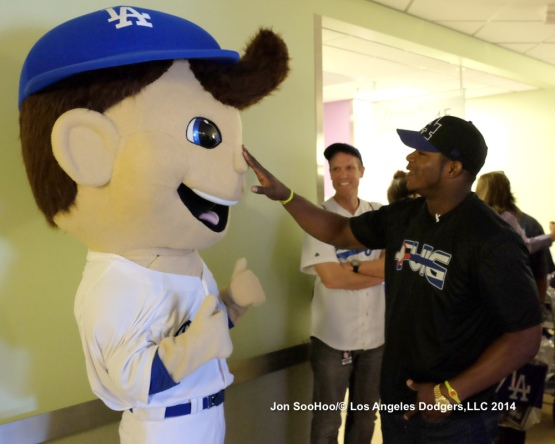 Yasiel Puig visits Childrens Hospital Los Angeles