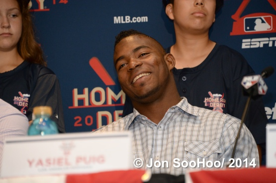 Los Angeles Dodgers Yasiel Puig during Home Run Derby Press Conference
