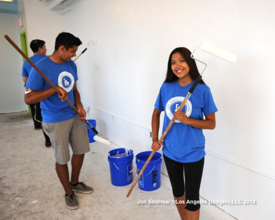 Los Angeles Dodgers employees volunteer and paint the soon to be Andre and Maggie Ethier Learning Center at the Union Rescue Mission