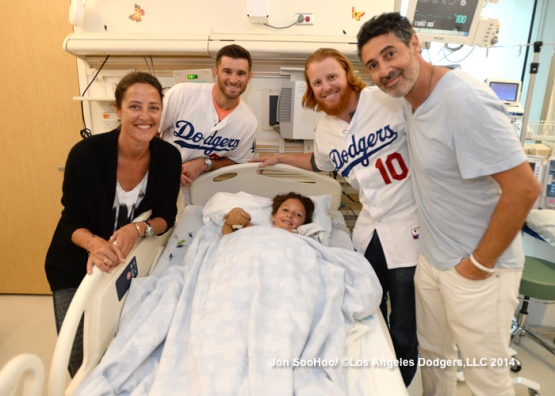LOS ANGELES DODGERS DREW BUTERA AND JUSTIN TURNER VISIT CEDARS SINAI MEDICAL CENTER