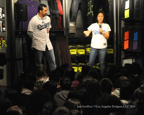 Los Angeles Dodgers Adrian Gonzalez at Niketown Beverly Hills