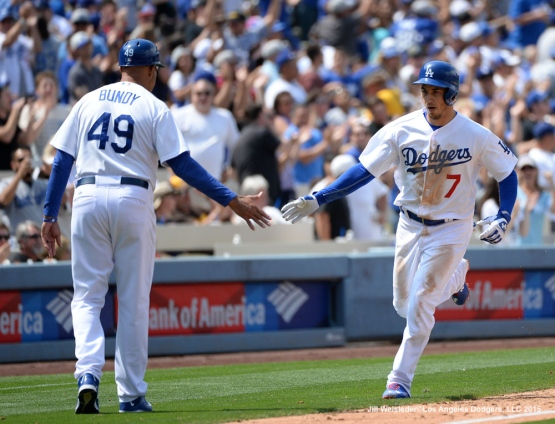 Alex Guerrero rounds third base after getting his seventh home run of the season. Jill Weisleder/Dodgers