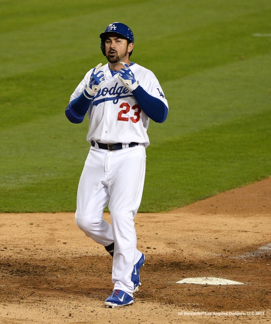 Adrian Gonzalez got his 1,000 RBI with a home run in the 5th inning. Jill Weisleder/LA Dodgers
