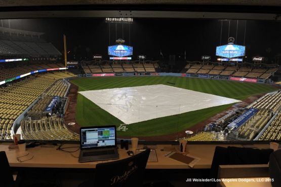 A view of the stands from the press box during the rain delay. Jill Weisleder/LA Dodgers