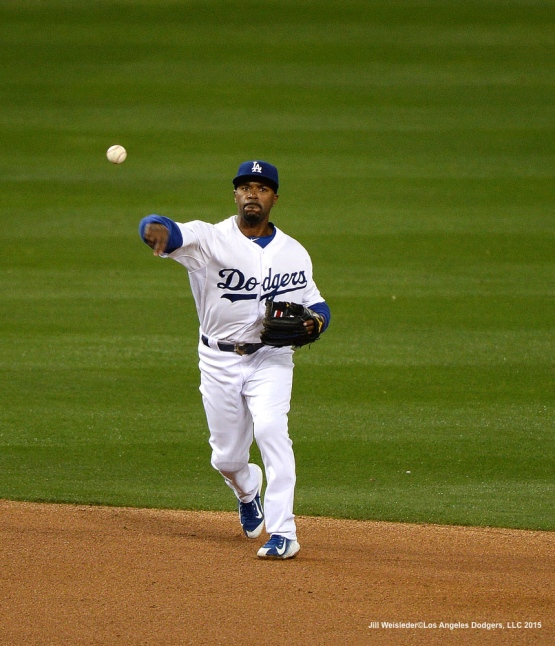 Jimmy Rollins makes a throw to first base. Jill Weisleder/LA Dodgers