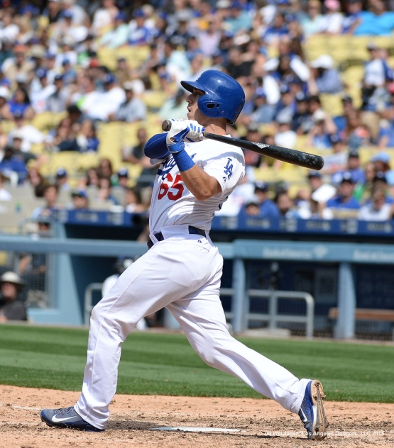 Austin Barnes recorded his first-career Major League hit with a single in the bottom of the eighth inning in his Major League debut. Jill Weisleder/Dodgers