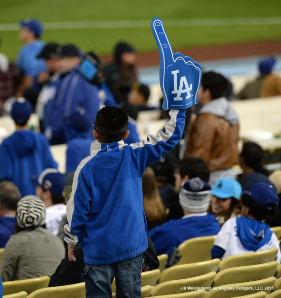 A young fan shows his support for the Dodgers. Jill Weisleder/LA Dodgers