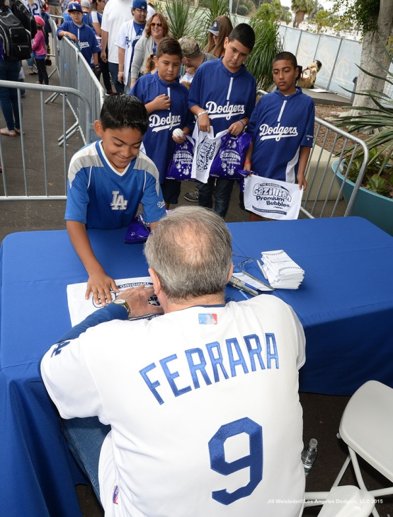 "Former Dodger Al ""The Bull"" Ferrara signs autographs for fans at Viva Los Dodgers prior to the game against the San Diego Padres. Jill Weisleder/Dodgers"