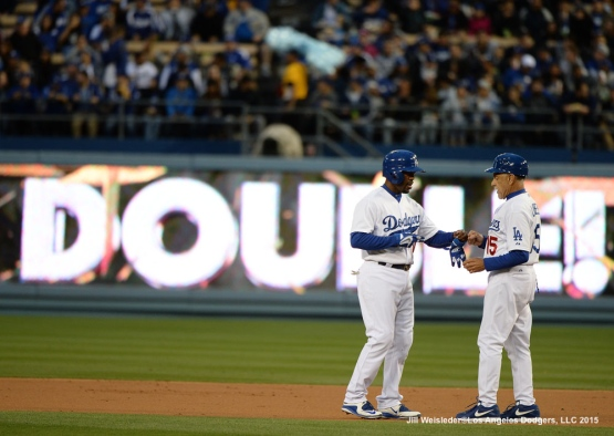 Jimmy Rollins gets a double in the first inning. Jill Weisleder/LA Dodgers