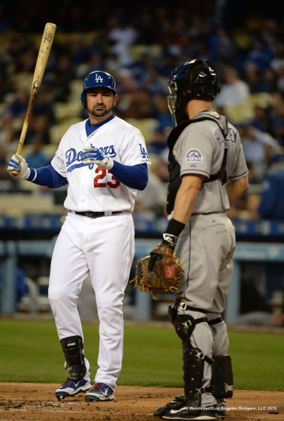 Adrian Gonzalez gets ready to bat. Jill Weisleder/LA Dodgers
