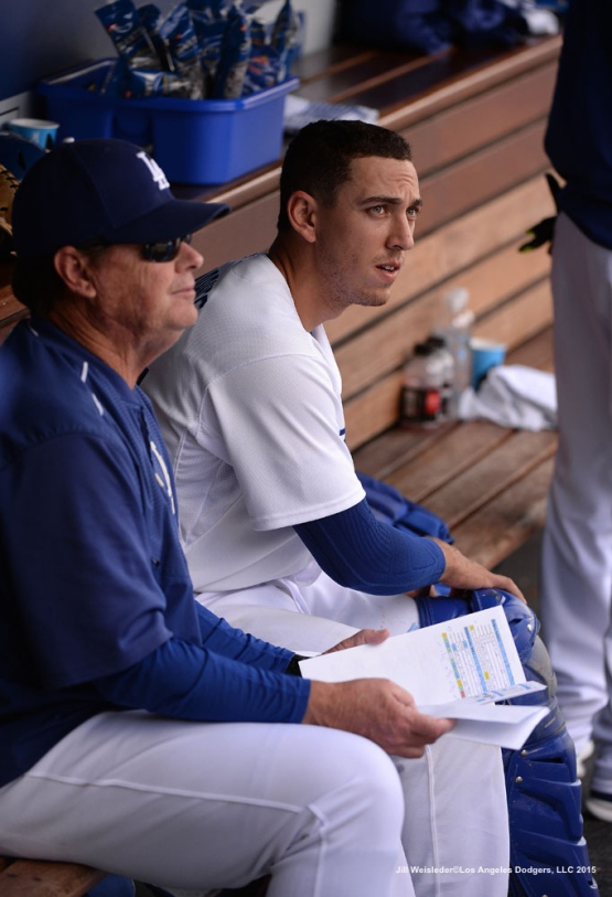 Catcher Austin Barnes gets ready to start his first Major League debut for the Dodgers Jill Weisleder/Dodgers