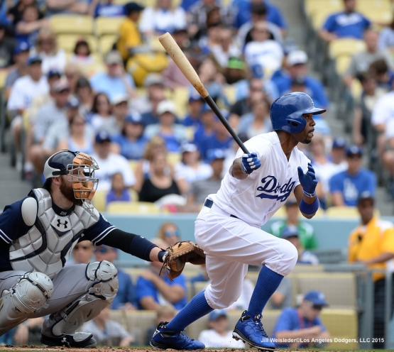 Jimmy Rollins connects for a single in the first inning. Jill Weisleder/Dodgers