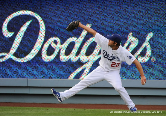 Staring pitcher Clayton Kershaw warms up prior to the start of the game. Jill Weisleder/LA Dodgers