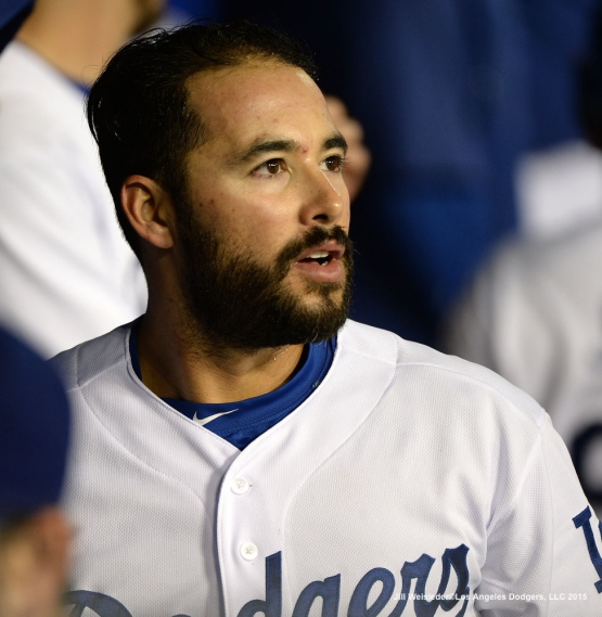 Andre Ethier looks on from the dugout. Jill Weisleder/LA Dodgers