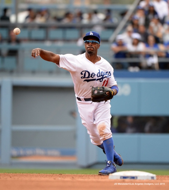 Jimmy Rollins completes the double-play in the second inning. Jill Weisleder/Dodgers
