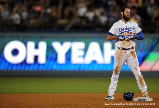 Scott Van Slyke stretches a single into a double on an error by the Marlins in the seventh inning.