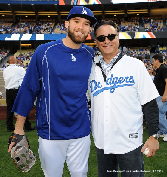 Paco Rodriguez and actor Andy Garcia pose for a photo before the ceremonial first pitch.