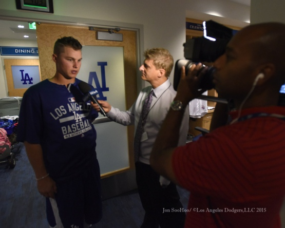 Joc Pederson talks to the media prior to Hollywood Stars Night before the Los Angeles Dodgers game against the St.Louis Cardinals Saturday, June 6, 2015 at Dodger Stadium in Los Angeles,California. Photo by Jon SooHoo/©Los Angeles Dodgers,LLC 2015