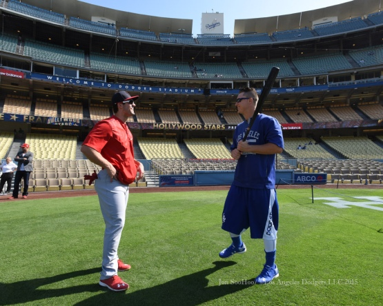 Los Angeles Dodgers Joc Pederson speaks with  St.Louis Cardinals Randal Grichuk (L) Saturday, June 6, 2015 at Dodger Stadium in Los Angeles,California. Photo by Jon SooHoo/©Los Angeles Dodgers,LLC 2015