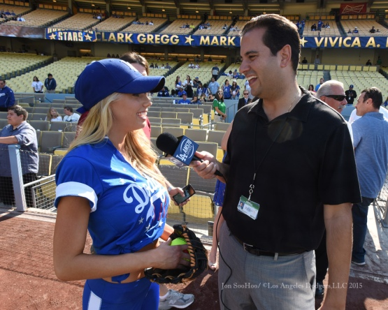 Charlotte McKinney speaks with media prior to the Hollywood Stars Night prior to Los Angeles Dodgers game against the St.Louis Cardinals Saturday, June 6, 2015 at Dodger Stadium in Los Angeles,California. Photo by Jon SooHoo/©Los Angeles Dodgers,LLC 2015