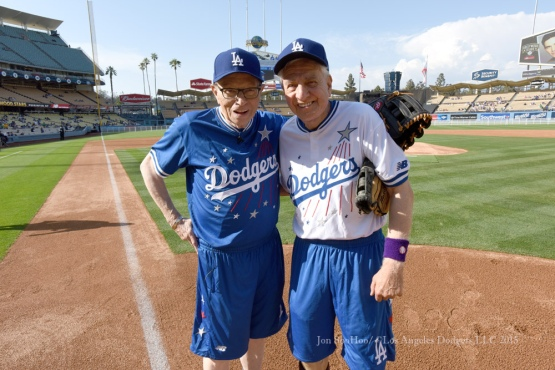 Team captains Larry King and Garry Marshall pose before the Hollywood Stars Night prior to Los Angeles Dodgers game against the St.Louis Cardinals Saturday, June 6, 2015 at Dodger Stadium in Los Angeles,California. Photo by Jon SooHoo/©Los Angeles Dodgers,LLC 2015