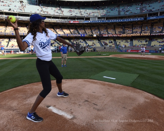 Lisa Leslie pitches from the mound after the Hollywood Stars softball game prior to Los Angeles Dodgers game against the St.Louis Cardinals Saturday, June 6, 2015 at Dodger Stadium in Los Angeles,California. Photo by Jon SooHoo/©Los Angeles Dodgers,LLC 2015