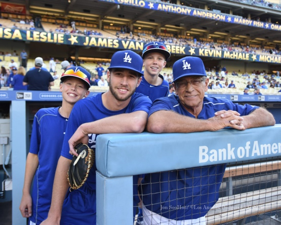McGwires and Yeagers pose before the Hollywood Stars Night prior to Los Angeles Dodgers game against the St.Louis Cardinals Saturday, June 6, 2015 at Dodger Stadium in Los Angeles,California. Photo by Jon SooHoo/©Los Angeles Dodgers,LLC 2015