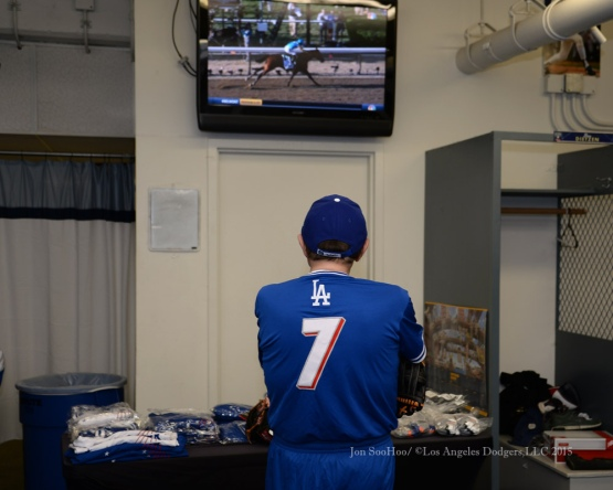 Larry King watches the Belmont prior to the Hollywood Stars Night before the Los Angeles Dodgers game against the St.Louis Cardinals Saturday, June 6, 2015 at Dodger Stadium in Los Angeles,California. Photo by Jon SooHoo/©Los Angeles Dodgers,LLC 2015