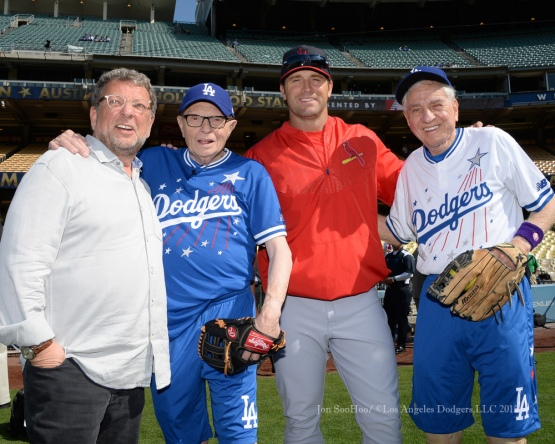 Charley Steiner, Larry King, Mike Matheny and Garry Marshall pose during the Hollywood Stars Night prior to Los Angeles Dodgers game against the St.Louis Cardinals Saturday, June 6, 2015 at Dodger Stadium in Los Angeles,California. Photo by Jon SooHoo/©Los Angeles Dodgers,LLC 2015