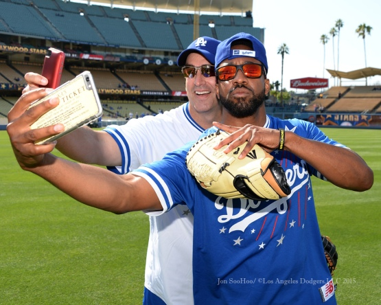 Rob Riggle and Jaleel White do selfies before the Hollywood Stars softball game prior to Los Angeles Dodgers game against the St.Louis Cardinals Saturday, June 6, 2015 at Dodger Stadium in Los Angeles,California. Photo by Jon SooHoo/©Los Angeles Dodgers,LLC 2015