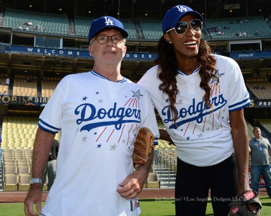 Alan Thicke poses with Lisa Leslie during the Hollywood Stars softball game prior to Los Angeles Dodgers game against the St.Louis Cardinals Saturday, June 6, 2015 at Dodger Stadium in Los Angeles,California. Photo by Jon SooHoo/©Los Angeles Dodgers,LLC 2015