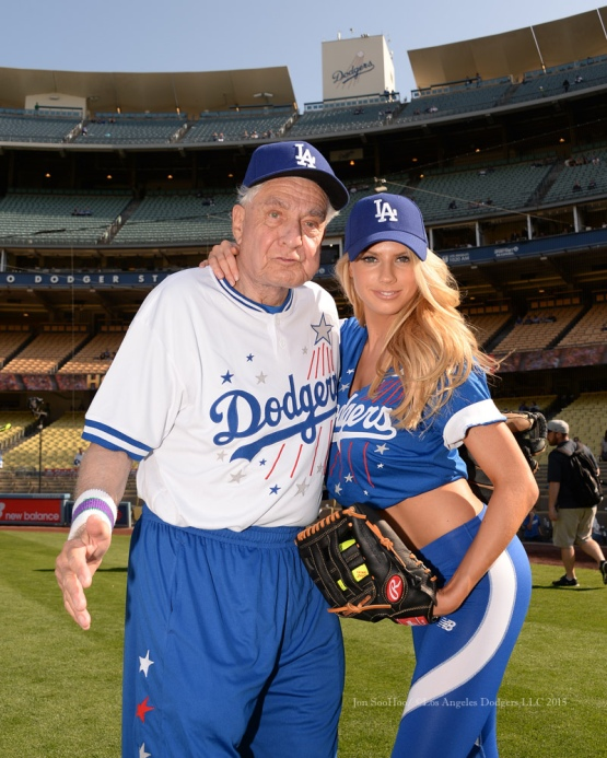 Garry Marshall poses with Charlotte McKinney prior to the Hollywood Stars softball game prior to Los Angeles Dodgers game against the St.Louis Cardinals Saturday, June 6, 2015 at Dodger Stadium in Los Angeles,California. Photo by Jon SooHoo/©Los Angeles Dodgers,LLC 2015