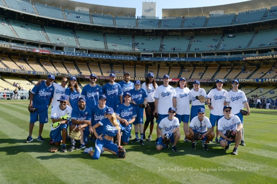 Hollywood Stars Night team photo prior to Los Angeles Dodgers game against the St.Louis Cardinals Saturday, June 6, 2015 at Dodger Stadium in Los Angeles,California. Photo by Jon SooHoo/©Los Angeles Dodgers,LLC 2015
