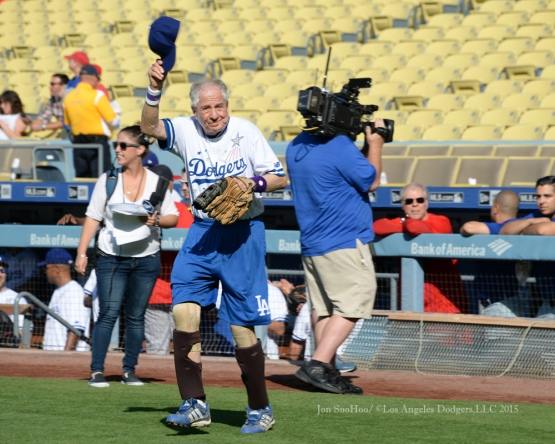 Garry Marshall is introduced during the Hollywood Stars softball game prior to Los Angeles Dodgers game against the St.Louis Cardinals Saturday, June 6, 2015 at Dodger Stadium in Los Angeles,California. Photo by Jon SooHoo/©Los Angeles Dodgers,LLC 2015