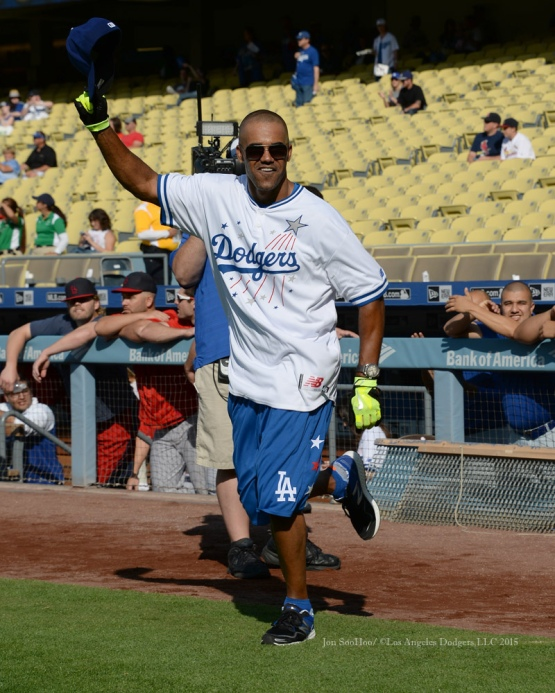 Shemar Moore is introduced during the Hollywood Stars softball game prior to Los Angeles Dodgers game against the St.Louis Cardinals Saturday, June 6, 2015 at Dodger Stadium in Los Angeles,California. Photo by Jon SooHoo/©Los Angeles Dodgers,LLC 2015