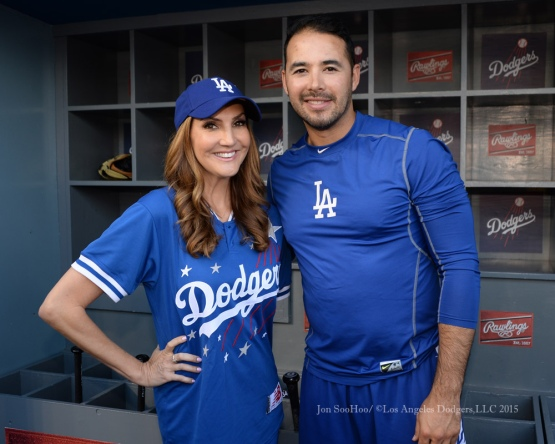 Heather McDonald poses with Andre Ethier during the Hollywood Stars softball game prior to Los Angeles Dodgers game against the St.Louis Cardinals Saturday, June 6, 2015 at Dodger Stadium in Los Angeles,California. Photo by Jon SooHoo/©Los Angeles Dodgers,LLC 2015
