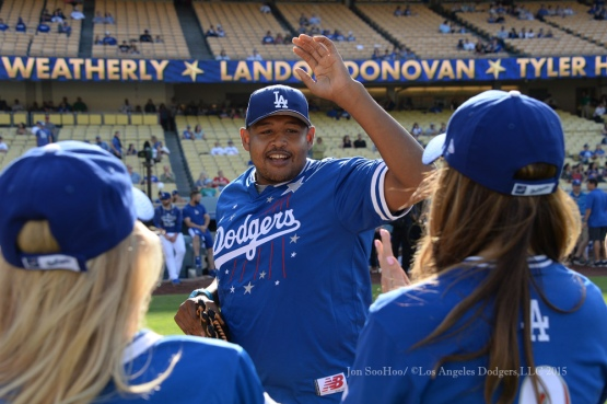 Omar Miller is introduced during the Hollywood Stars softball game prior to Los Angeles Dodgers game against the St.Louis Cardinals Saturday, June 6, 2015 at Dodger Stadium in Los Angeles,California. Photo by Jon SooHoo/©Los Angeles Dodgers,LLC 2015