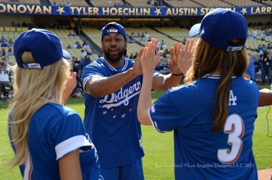 Jaleel White is introduced during the Hollywood Stars softball game prior to Los Angeles Dodgers game against the St.Louis Cardinals Saturday, June 6, 2015 at Dodger Stadium in Los Angeles,California. Photo by Jon SooHoo/©Los Angeles Dodgers,LLC 2015