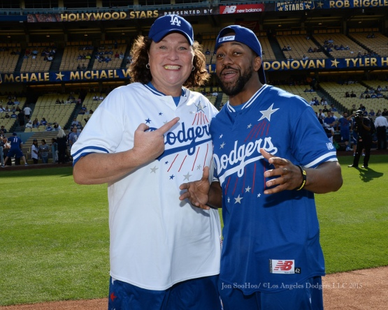 Dot-Marie Jones poses with Jaleel White during the Hollywood Stars softball game prior to Los Angeles Dodgers game against the St.Louis Cardinals Saturday, June 6, 2015 at Dodger Stadium in Los Angeles,California. Photo by Jon SooHoo/©Los Angeles Dodgers,LLC 2015