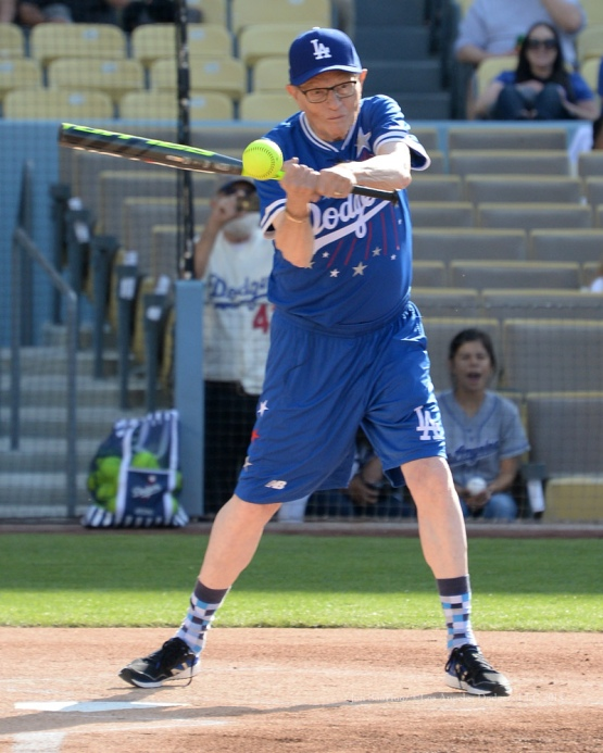 Larry King hits during the Hollywood Stars softball game prior to Los Angeles Dodgers game against the St.Louis Cardinals Saturday, June 6, 2015 at Dodger Stadium in Los Angeles,California. Photo by Jon SooHoo/©Los Angeles Dodgers,LLC 2015