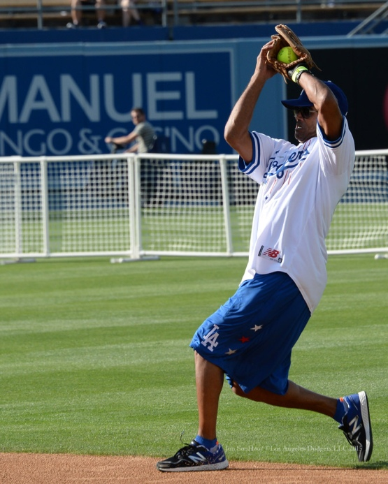 Shemar Moore catches fly ball during the Hollywood Stars softball game prior to Los Angeles Dodgers game against the St.Louis Cardinals Saturday, June 6, 2015 at Dodger Stadium in Los Angeles,California. Photo by Jon SooHoo/©Los Angeles Dodgers,LLC 2015