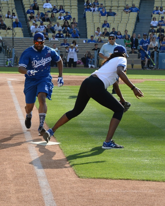 Jaleel White is out at first by Lisa Leslie during the Hollywood Stars softball game prior to Los Angeles Dodgers game against the St.Louis Cardinals Saturday, June 6, 2015 at Dodger Stadium in Los Angeles,California. Photo by Jon SooHoo/©Los Angeles Dodgers,LLC 2015